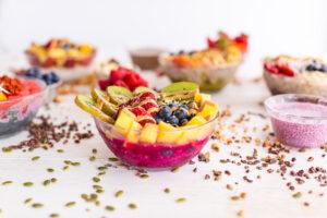 pitaya bowl topped with fruit